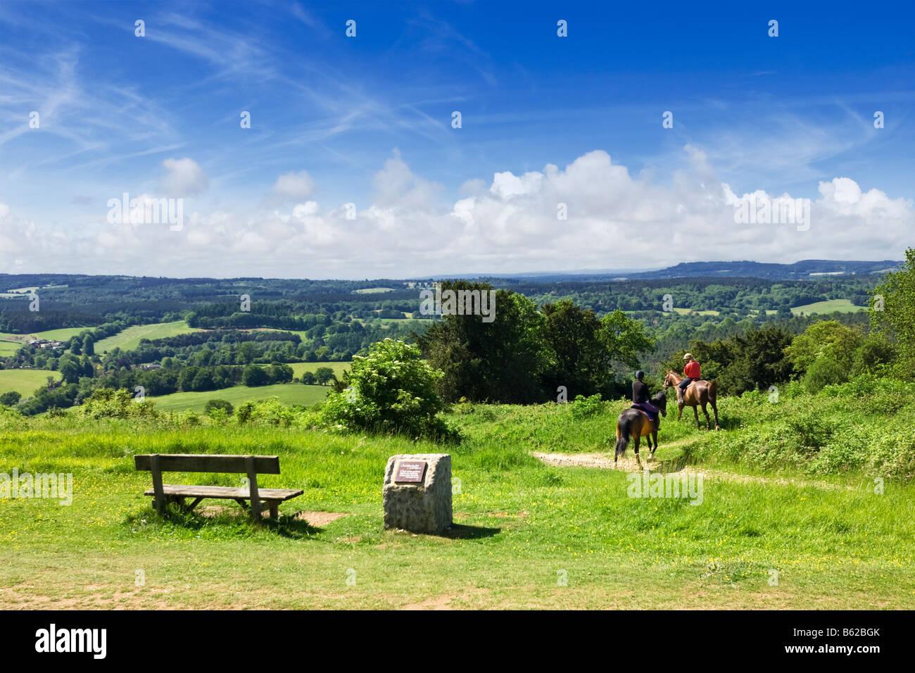 Surrey Hills - Reiter, North Downs Way, Surrey, englische Landschaft, England, Großbritannien Stockbild