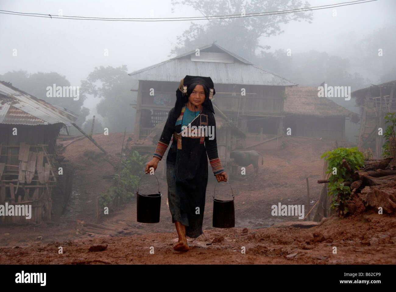 Frau des Stammes Akha Phixo tragen Tracht tragen zwei Eimer Wasser im Nebel in das Dorf Ban Mososa Stockbild