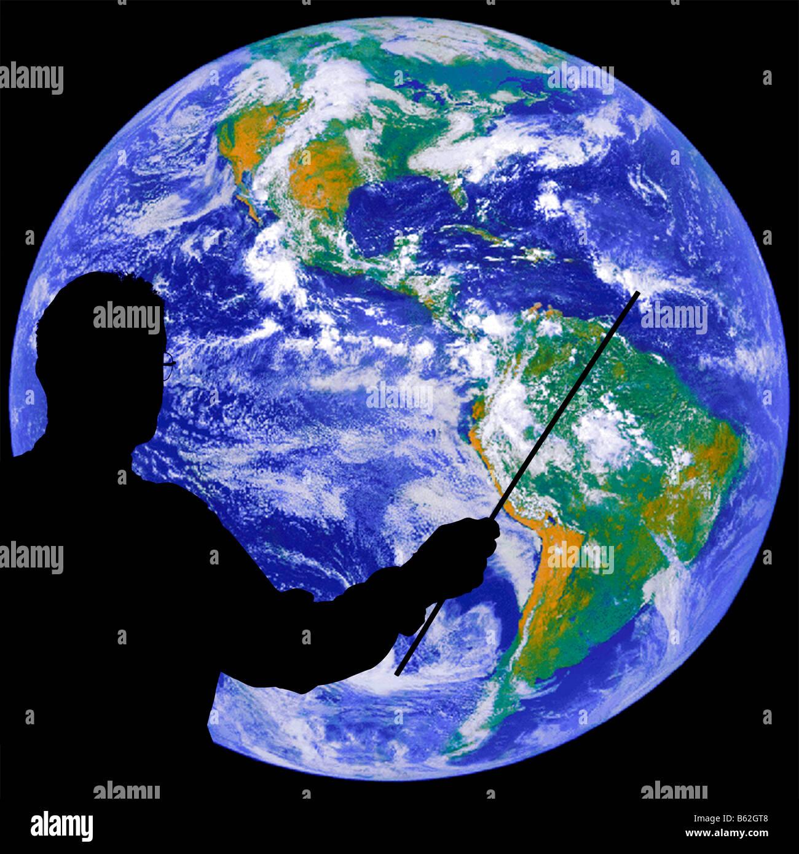 Geographie-Lehrer zeigt auf der Weltkarte der Erde Stockbild