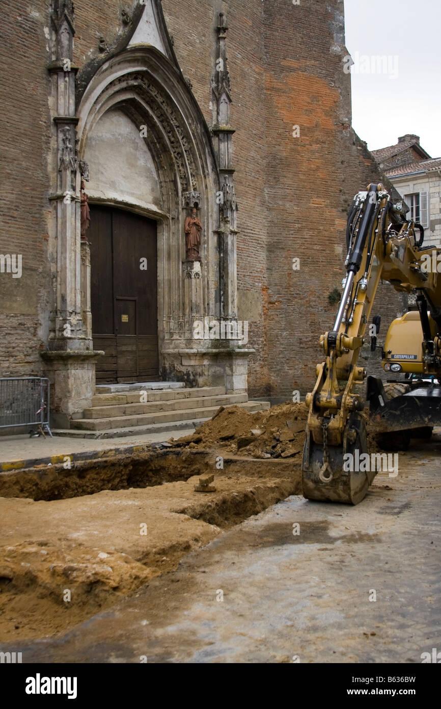Archäologische Ausgrabungen bei Bergerac Kathedrale-Gers, Südfrankreich Stockbild