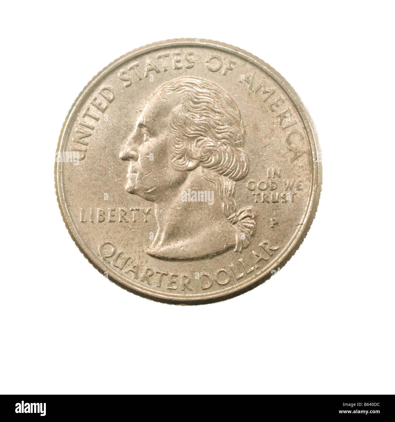Usa Einen Viertel Dollar Münze 25 Cent Isoliert Auf Weißem