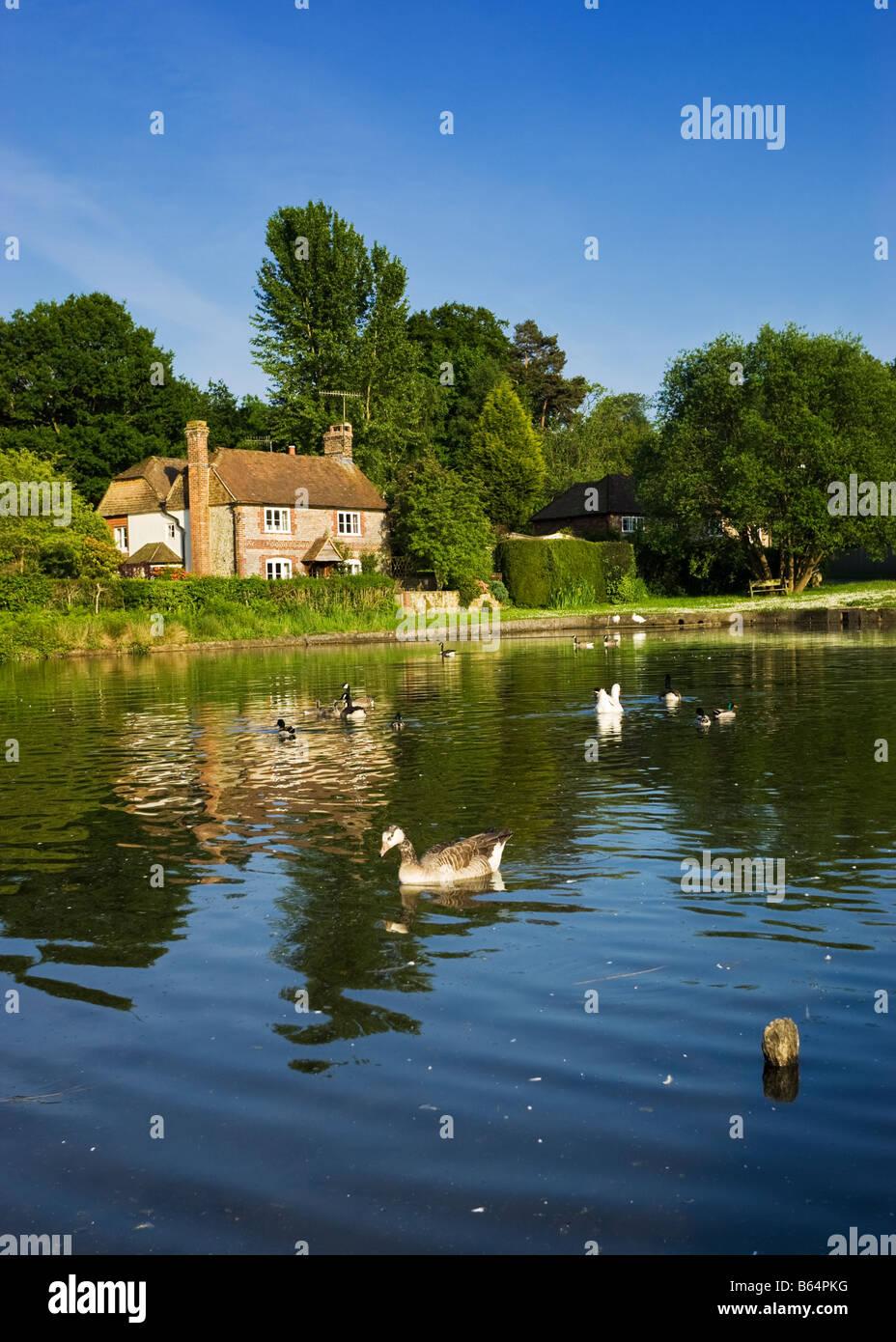 Ferienhaus am Shottermill Teiche in der Nähe von Haslemere, Surrey, England, Vereinigtes Königreich mit Stockbild