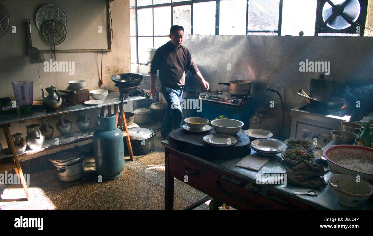 Restaurantküche in Deqin Provinz Yunnan China Stockfotografie - Alamy