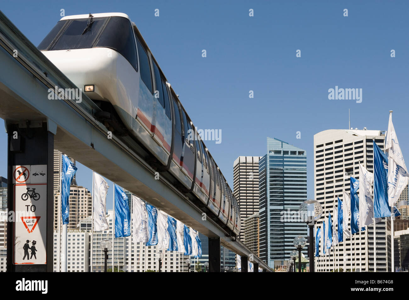 Monorail am darling harbour Stockbild