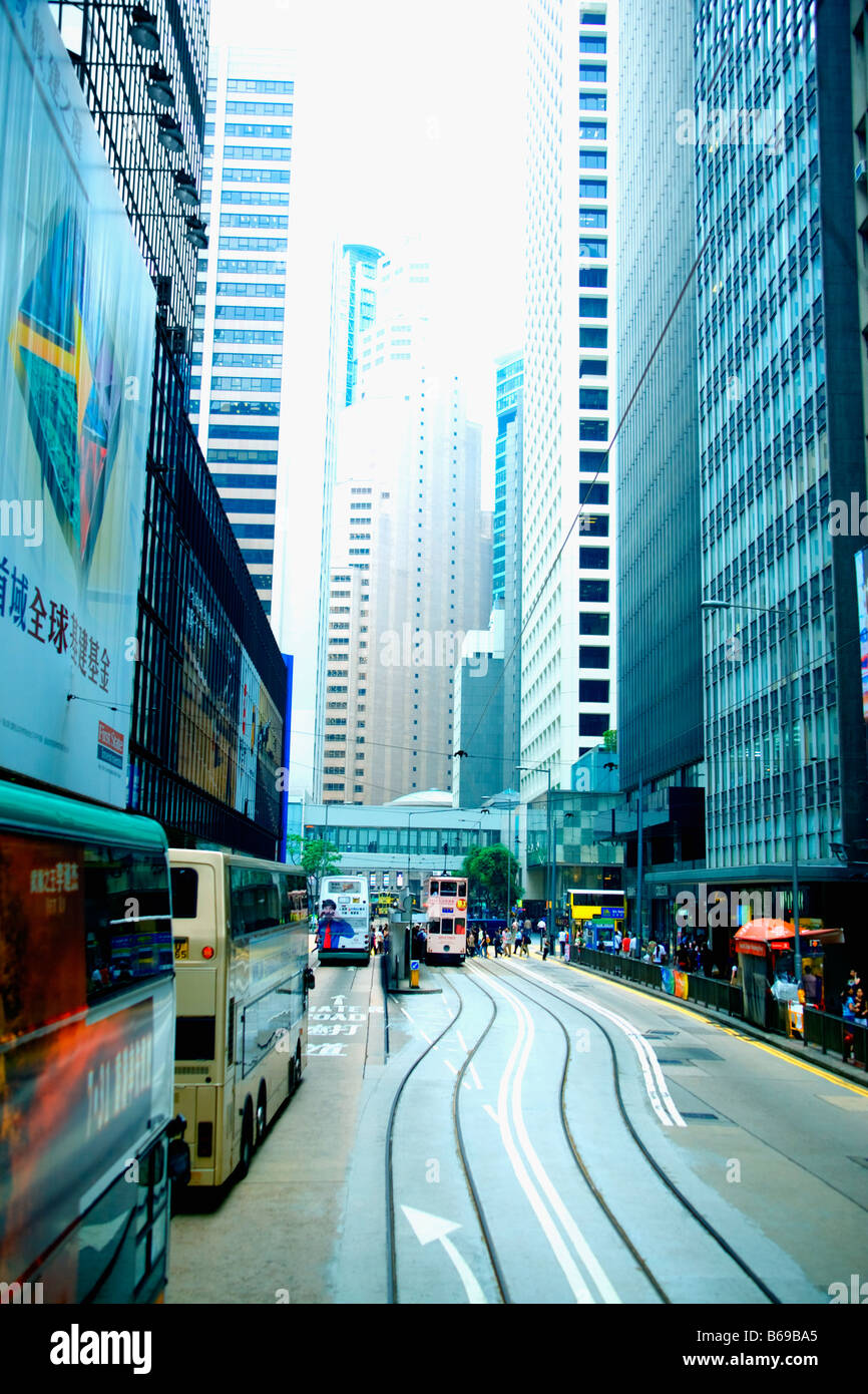 Verkehr auf der Straße, Hong Kong Island, Hongkong, China Stockbild