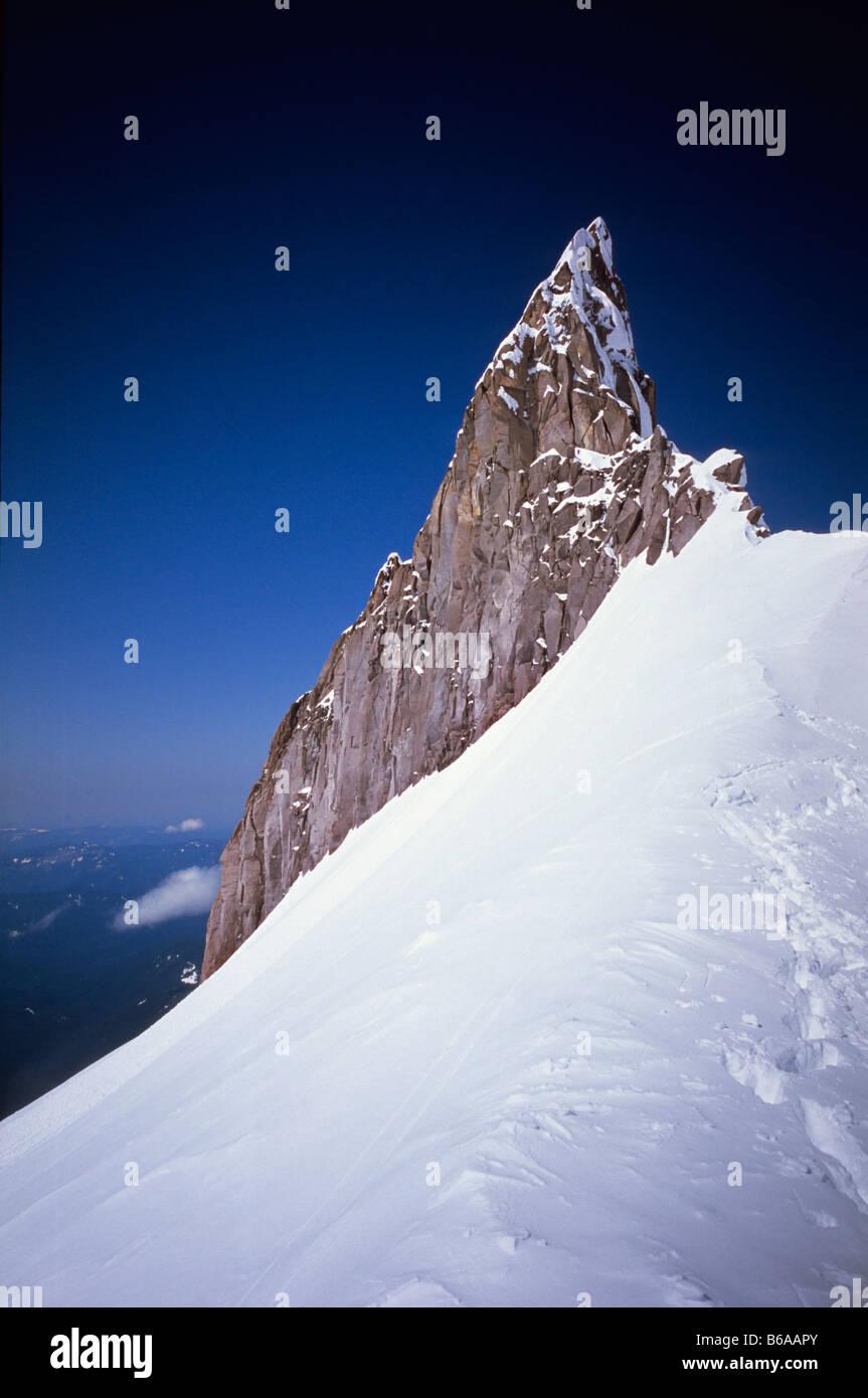 Beleuchtung-Rock 2.909 m (9, 543ft), Mt Hood, Oregon, USA Stockbild