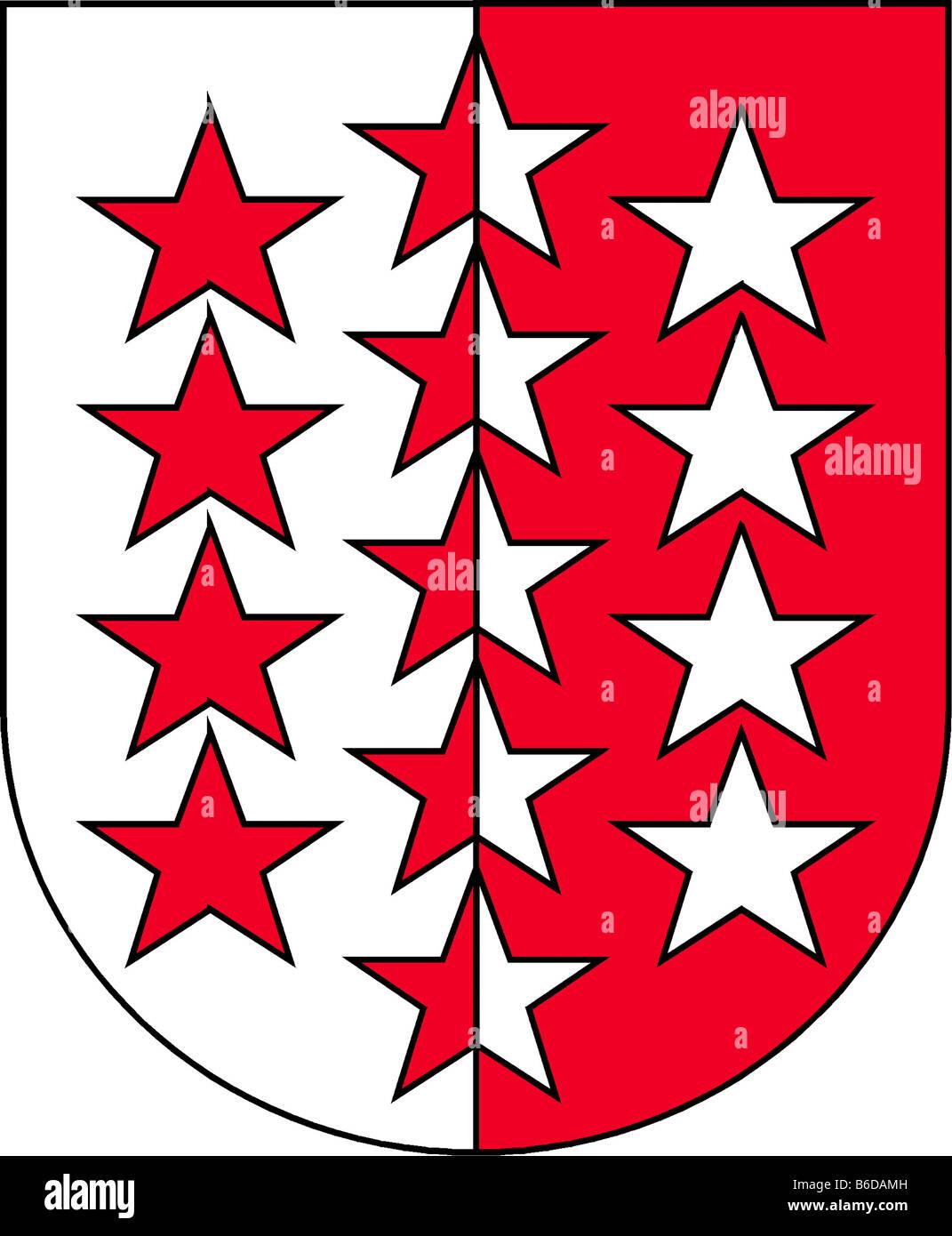 Abbildung Flagge des Kantons Wallis Schweiz Stockbild