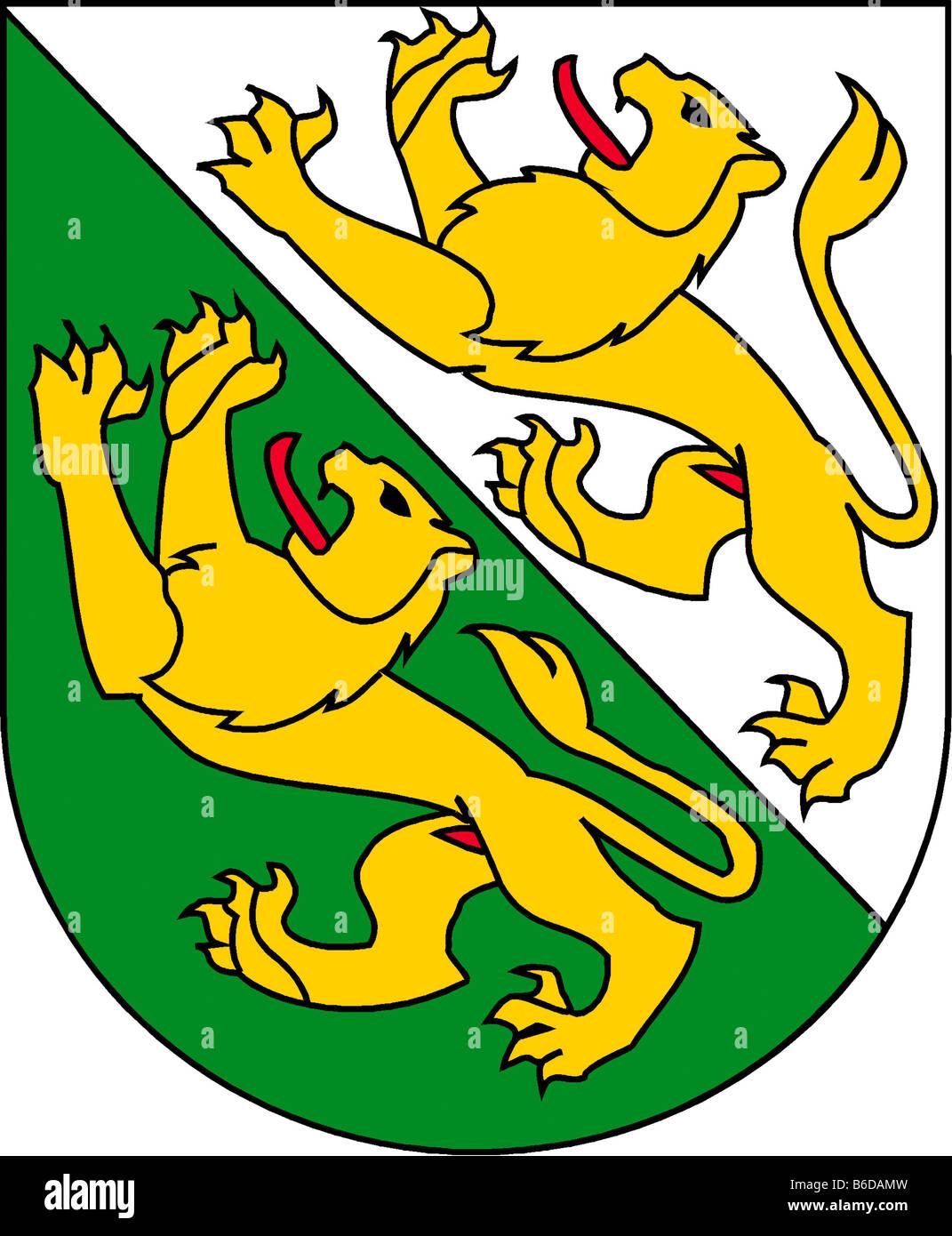 Abbildung Flagge des Kantons Thurgau Schweiz Stockbild