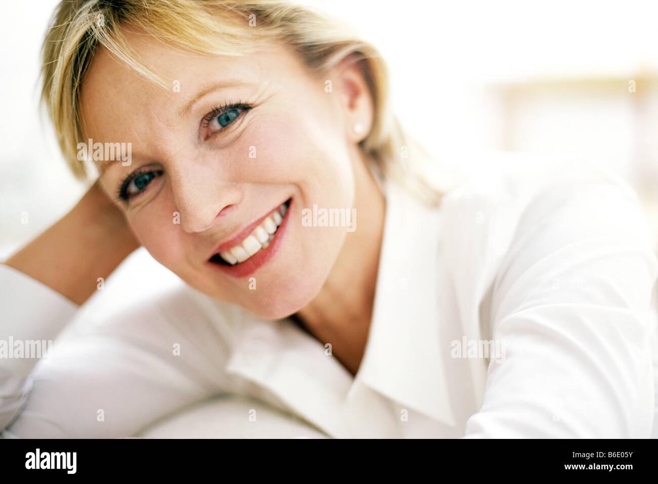 Portrait 48 Year Old Woman Stockfotos & Portrait 48 Year