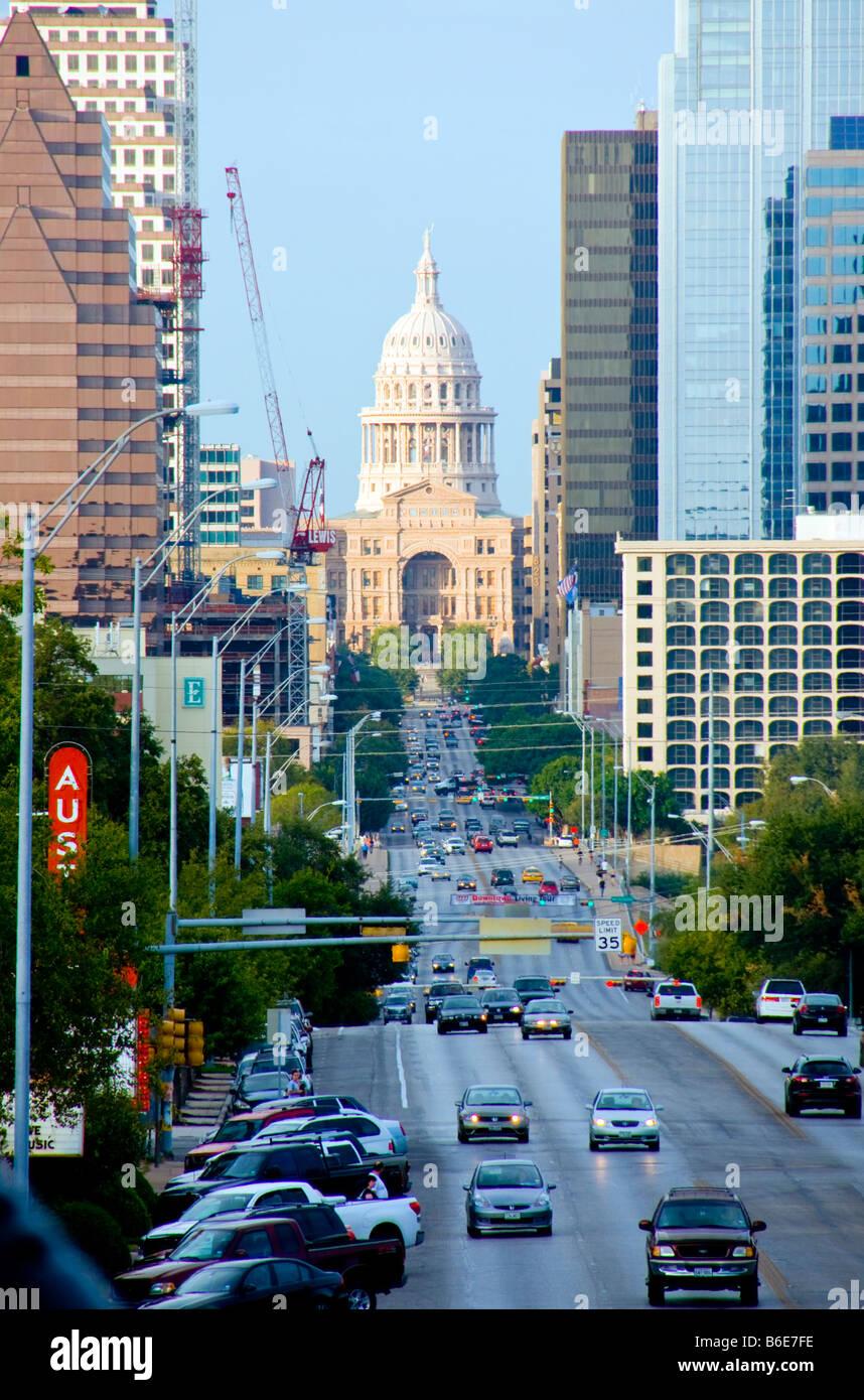 Gesehen von South Congress Avenue in Austin Texas State Capitol-Rotunde Stockbild