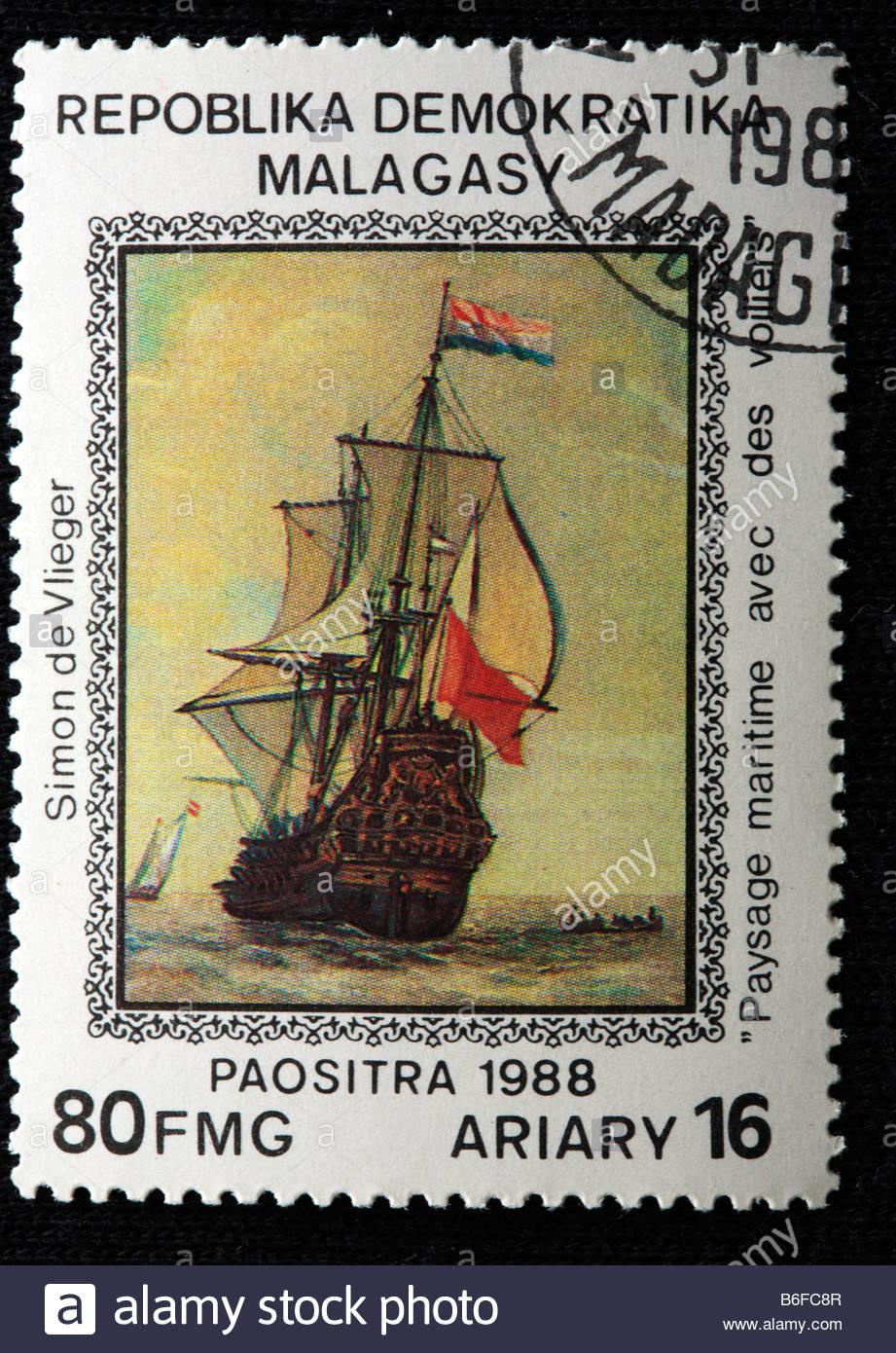 Französische Schlachtschiff, Briefmarke, Madagaskar (Malagasy), 1988 Stockbild