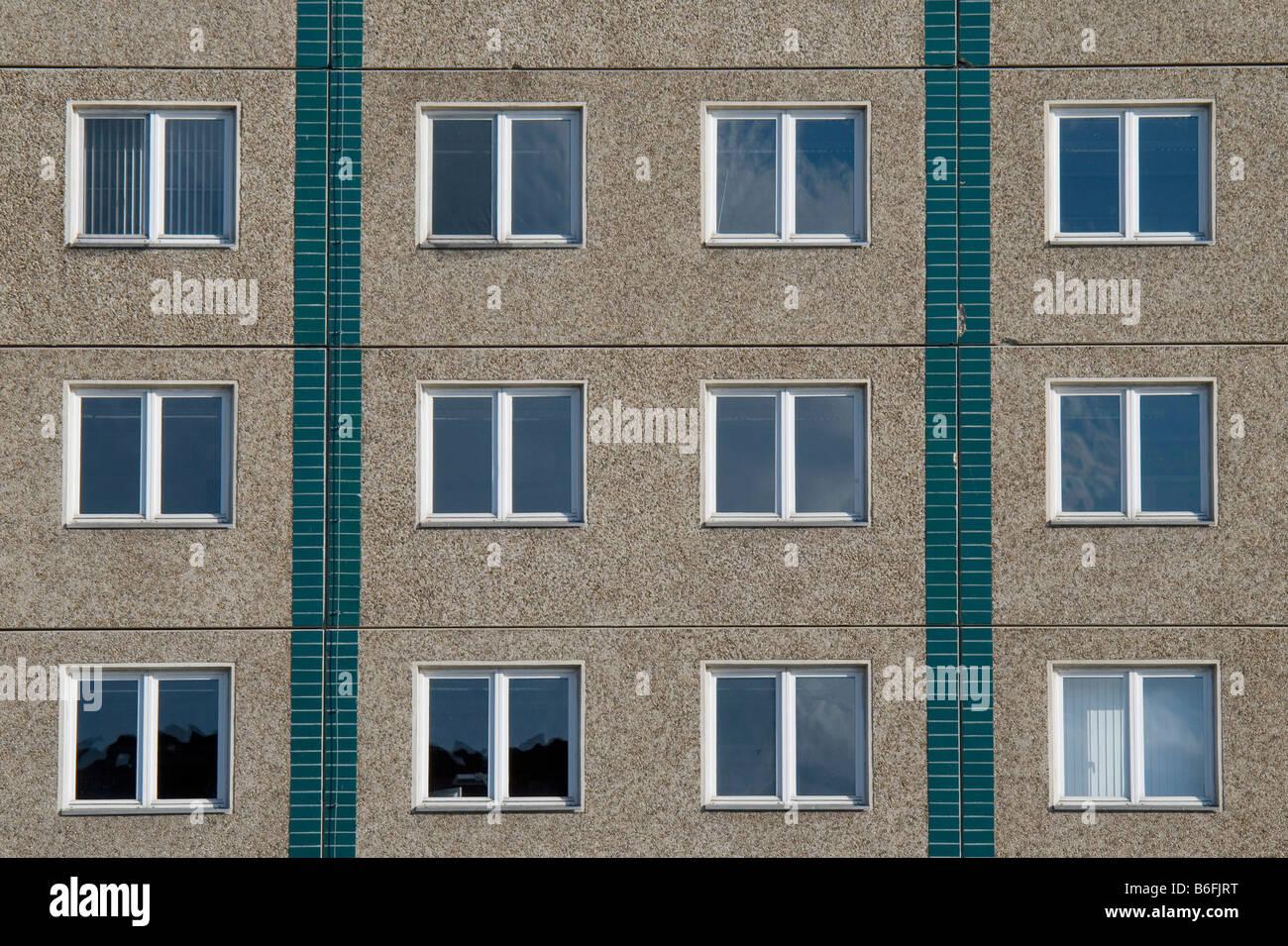 Plattenbau, vorgefertigte Betonbau, Teilansicht, Berlin, Deutschland, Europa Stockbild