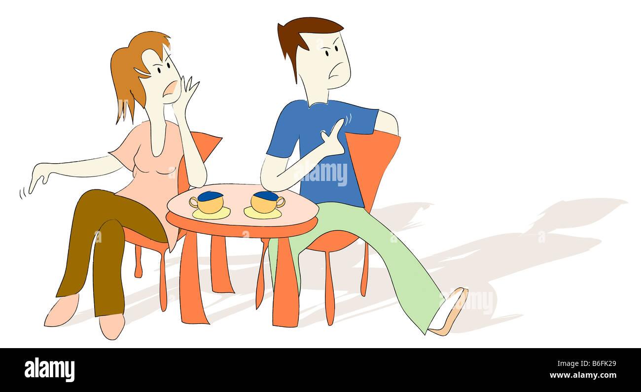Abbildung, Paare, die eine Diskussion, Argumentation in einem café Stockbild