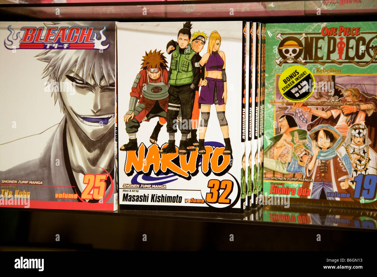 Manga-Comics auf dem Regal in Gosh Comic-Shop in London Stockbild