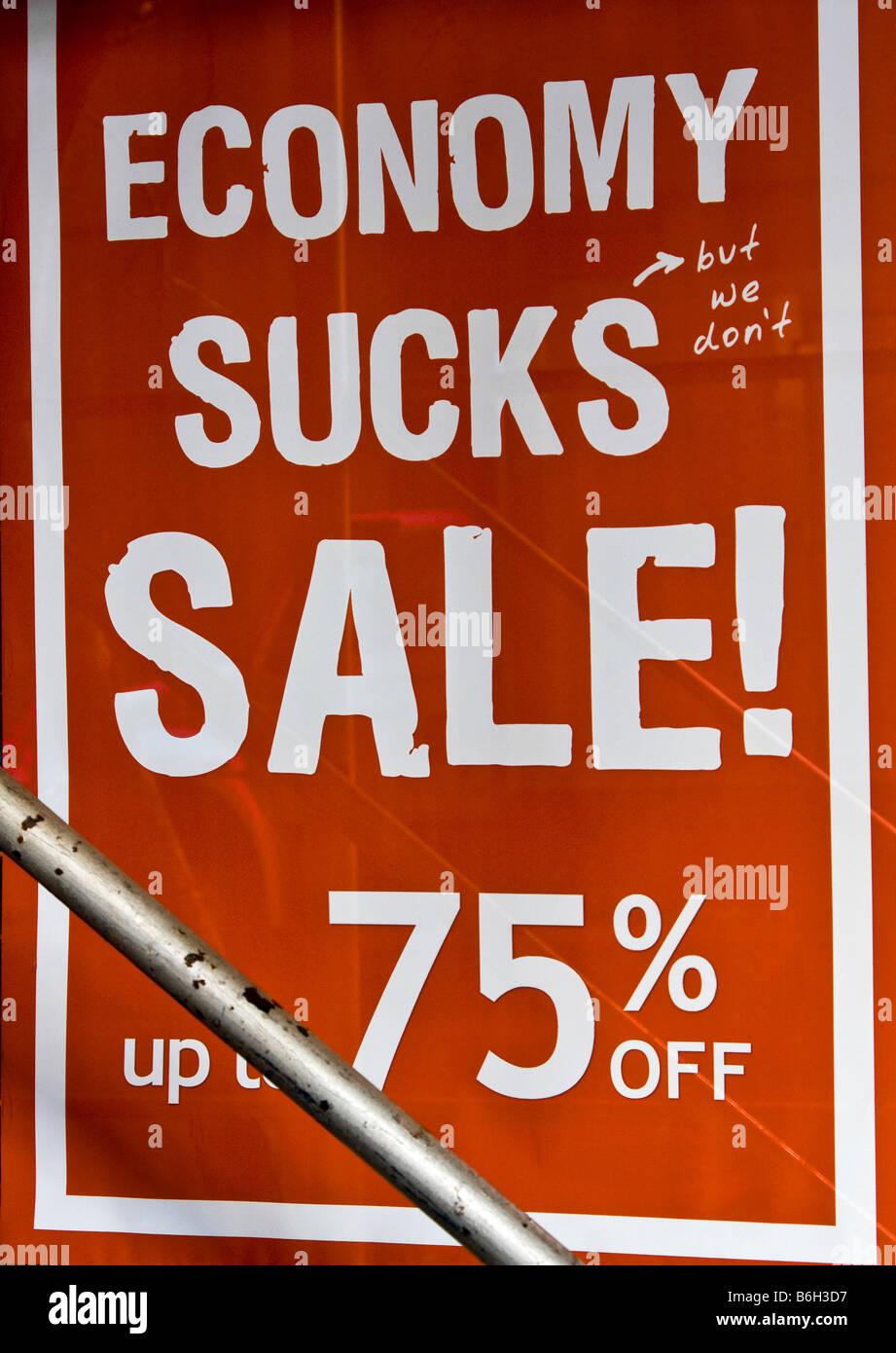 Wirtschaft saugt Fenster Zeichen Stockbild