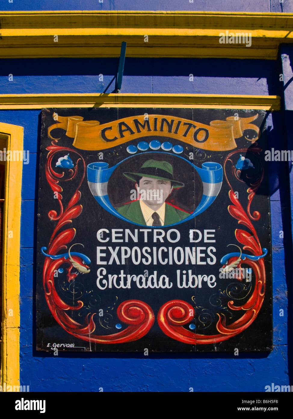 Bild des Tango-Sänger Carlos Gardel auf einer Wand in La Boca, Buenos Aires, Argentinien. Stockfoto