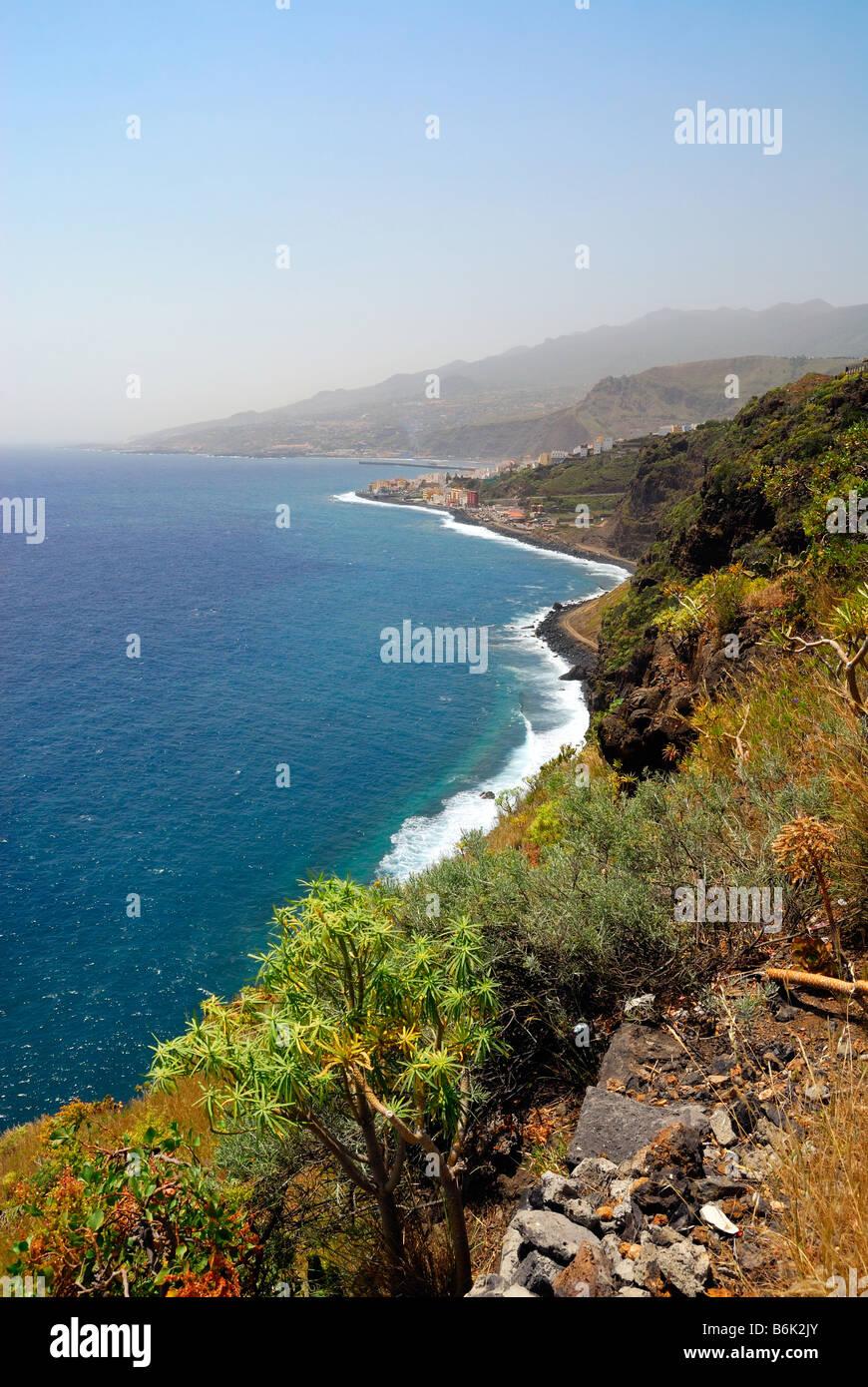 schöne Küste von La Palma Kanarische Inseln Santa Cruz Stockbild