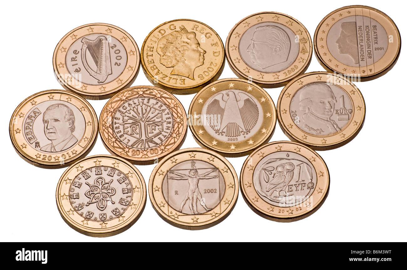 10 1 Euro Münzen Und Britische Pfund Münze Stockfoto Bild 21340420