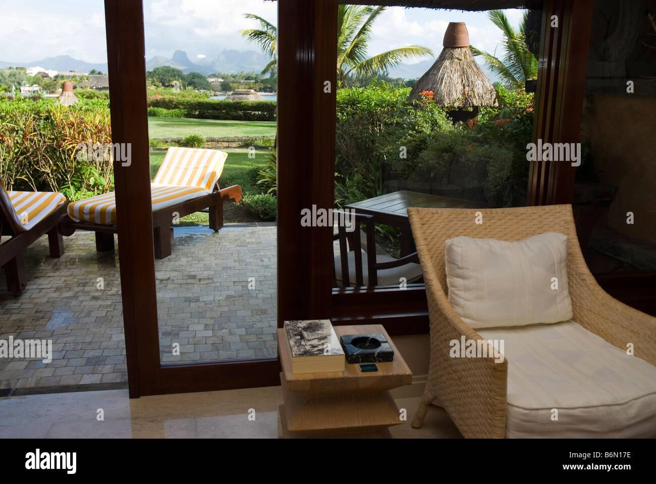 luxus pavillon zimmer garten hotel the oberoi in balaclava bereich insel mauritius stockfoto. Black Bedroom Furniture Sets. Home Design Ideas