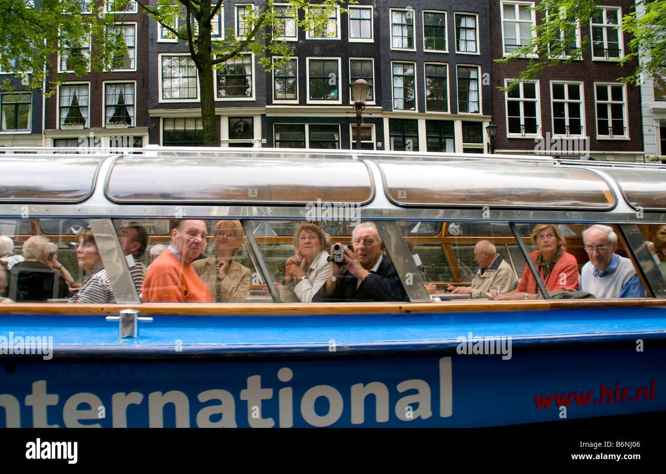 Amsterdam Sightseeing Rundfahrt in Holland International-Kreuzfahrt-Schiff Stockbild