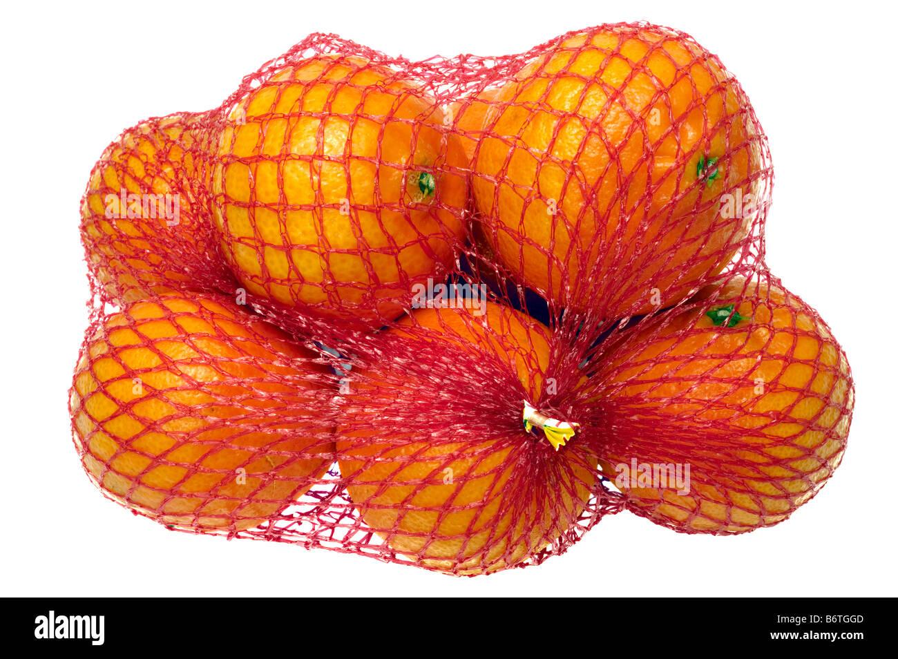 Eine Packung von Clementinen in einer roten Netto Netzbeutel Stockbild