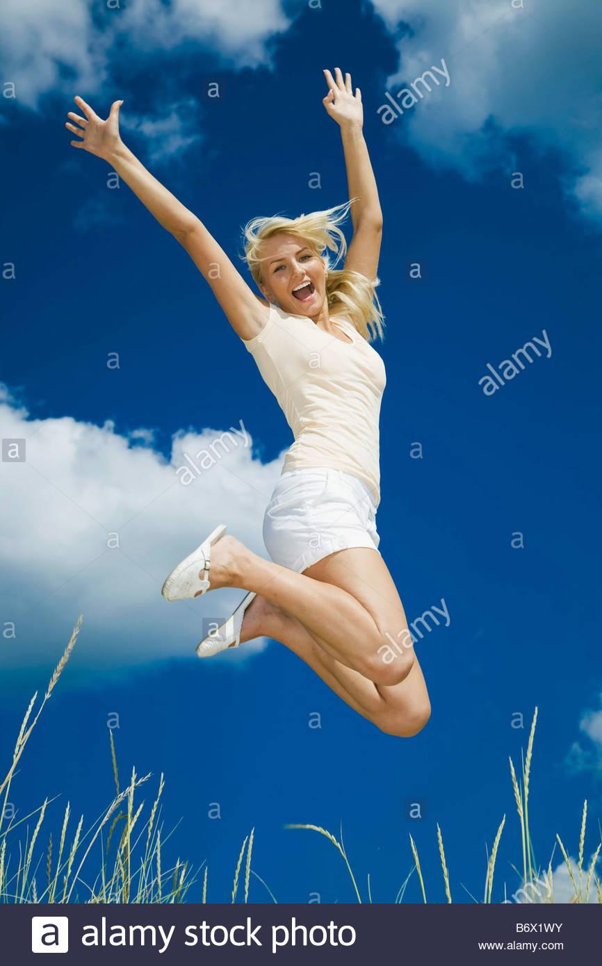 Mädchen in der Luft Stockbild