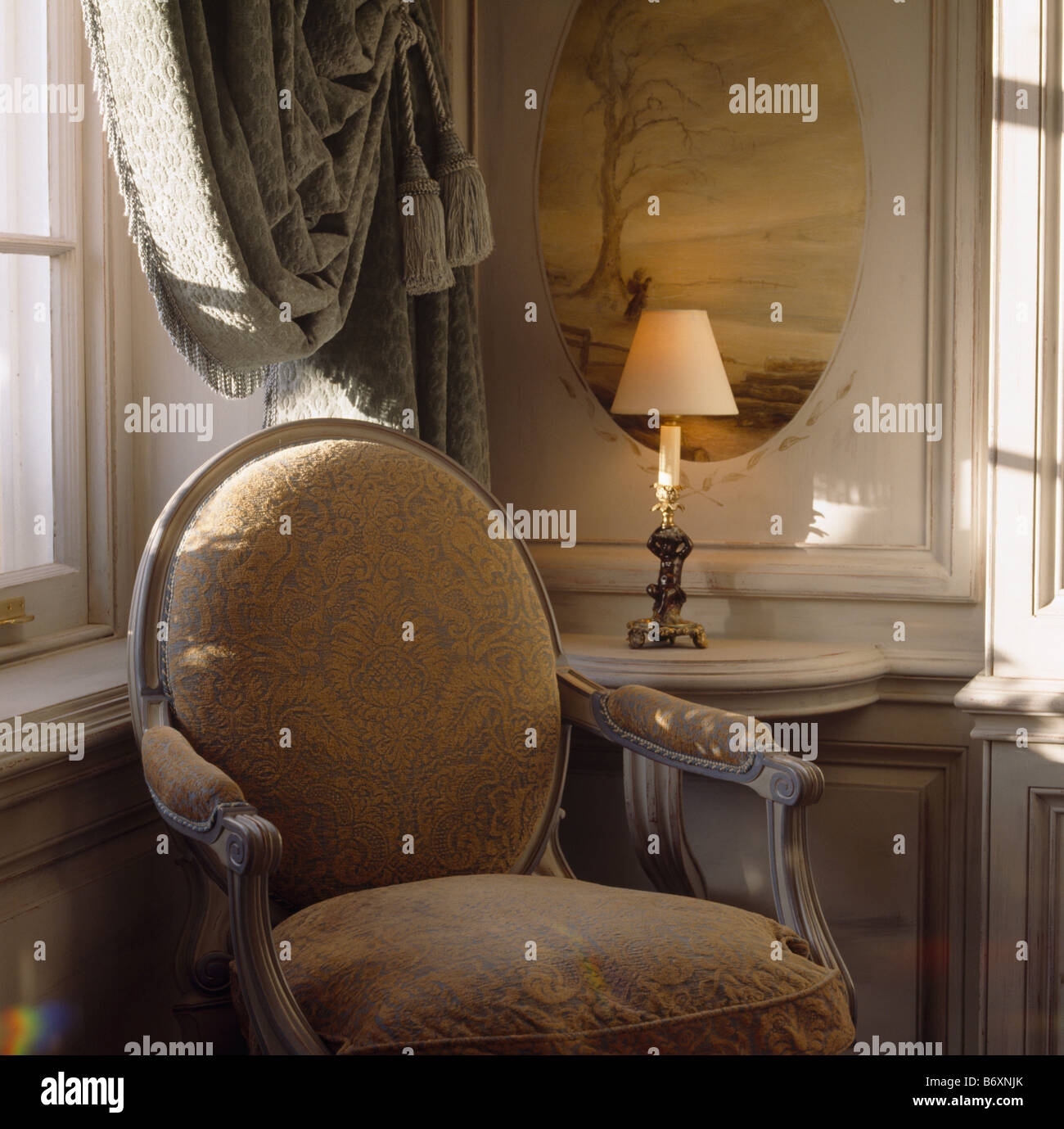 interiors sittingroom drapes armchair stockfotos interiors sittingroom drapes armchair bilder. Black Bedroom Furniture Sets. Home Design Ideas