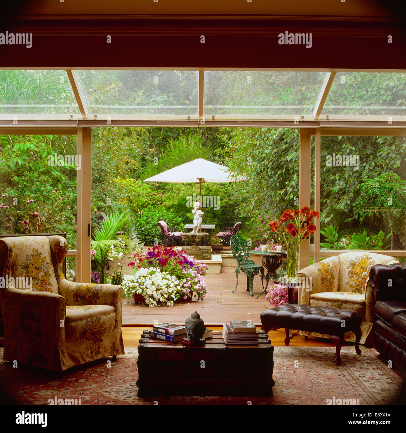 Holzer Wintergarten interiors conservatories livingrooms armchairs stockfotos