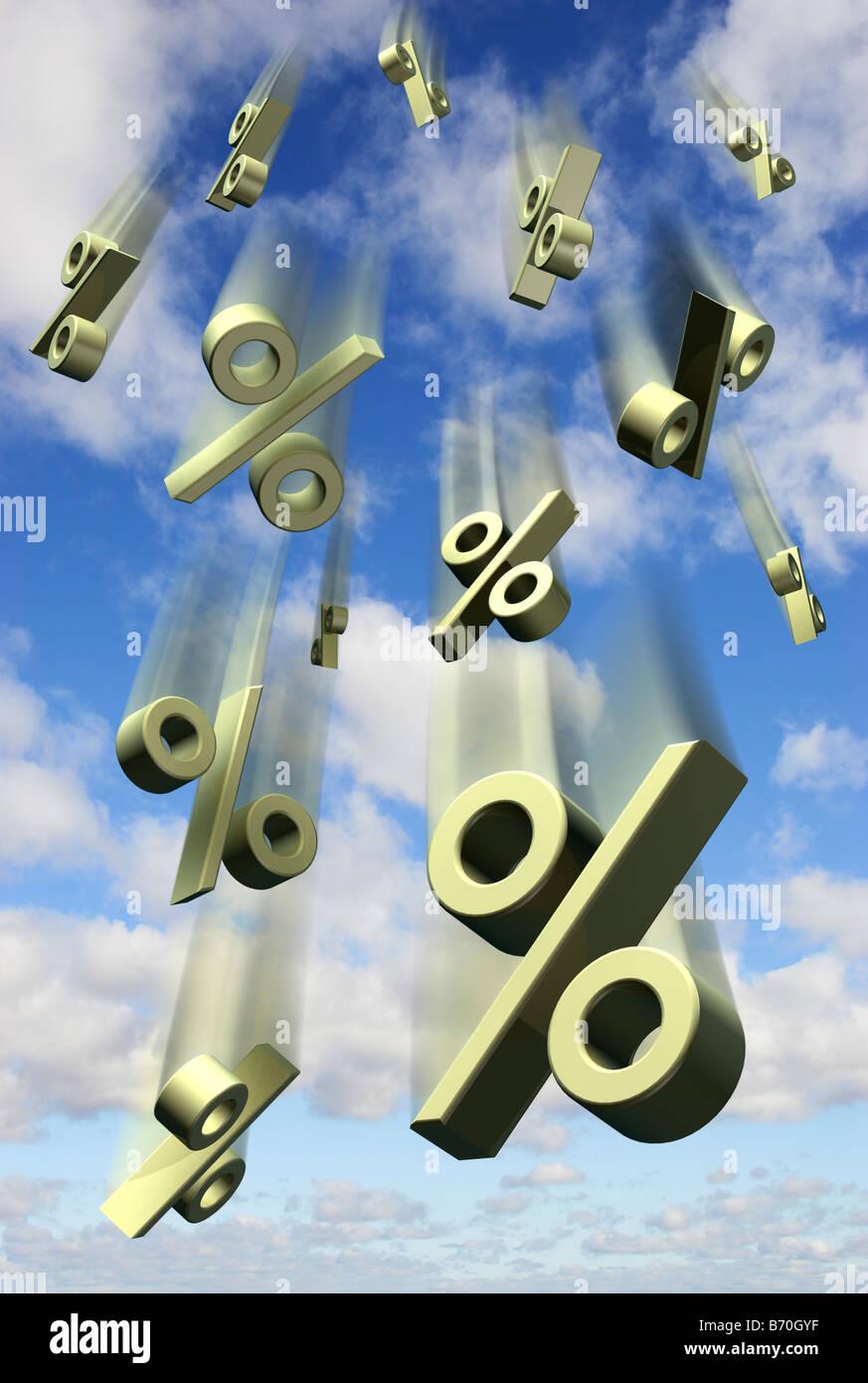 Zinssatz Preise fallen vor einem blauen Himmel - digital Composite Symbole Stockbild