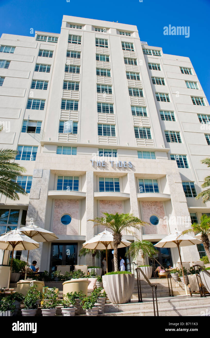 Miami South Beach, die Fliesen, weiße Art-Deco-Gebäude mit ...