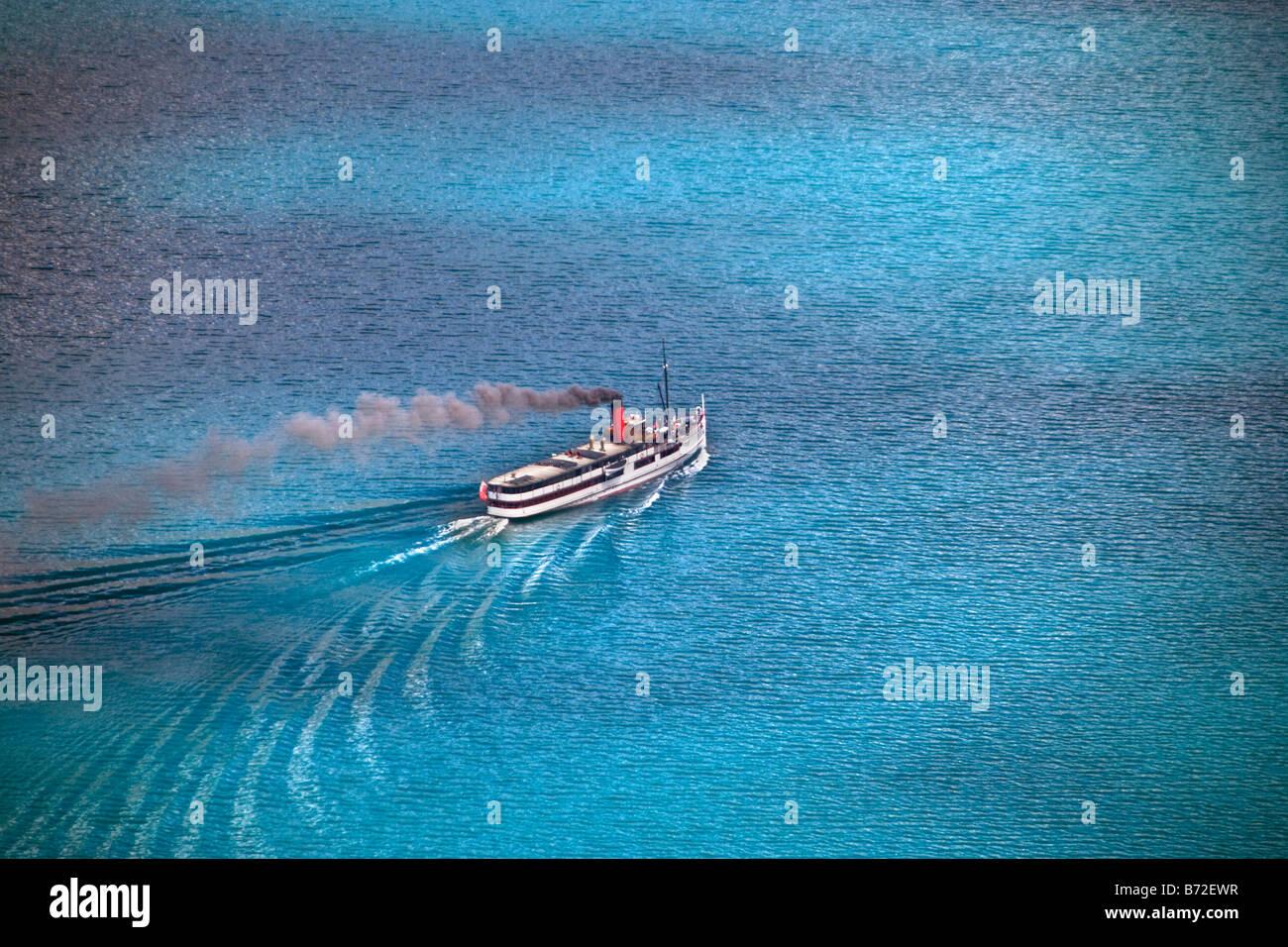 Neuseeland, Südinsel, Queenstown, Luftaufnahme von TSS Earnslaw, Dampf betriebene Boot See Kreuzfahrten zu Stockbild