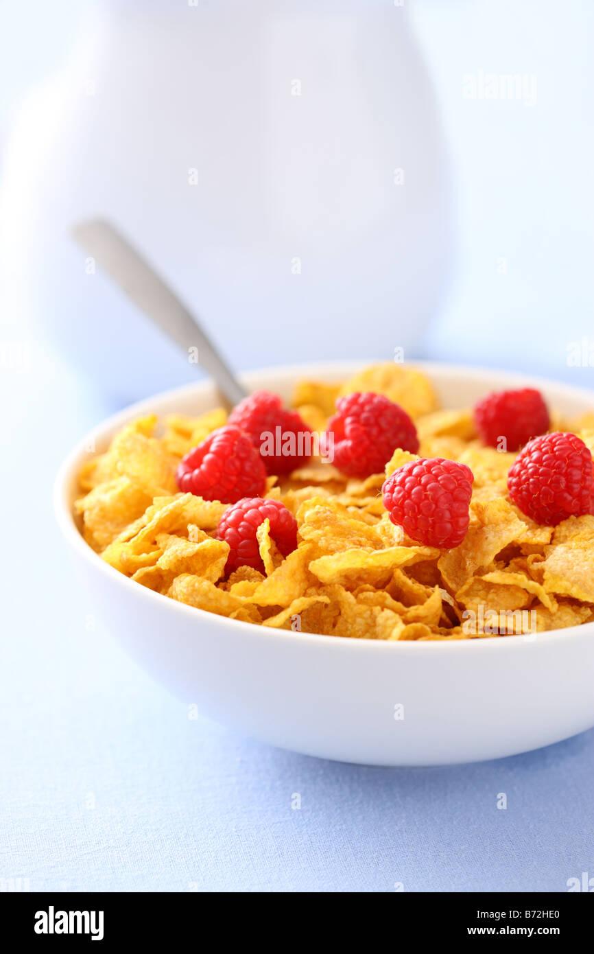 Schüssel mit Cornflakes mit Beeren zum Frühstück Stockbild