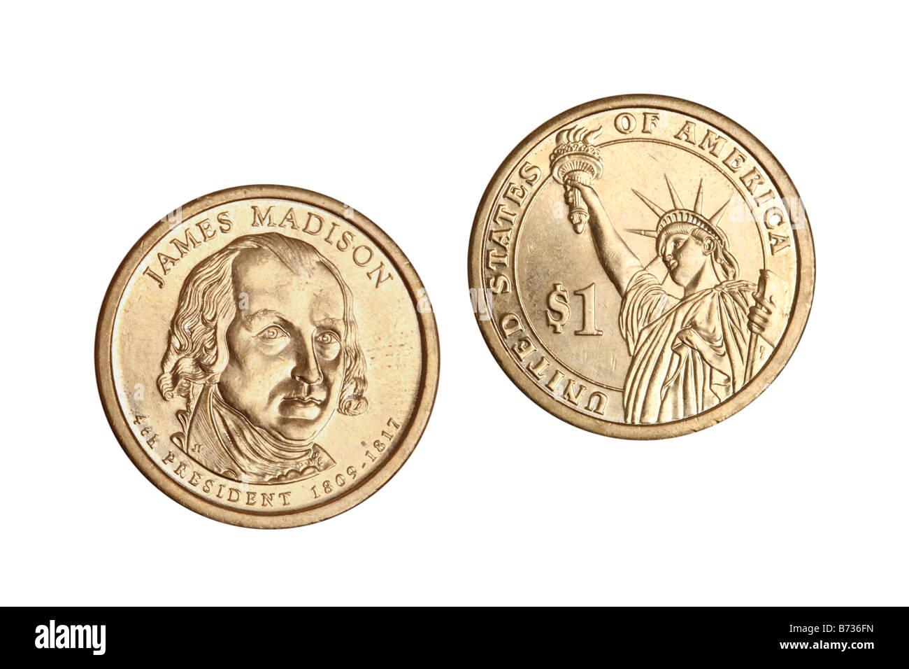 Ein US-Dollar-Münzen ausgeschnitten auf weißem Hintergrund Stockbild