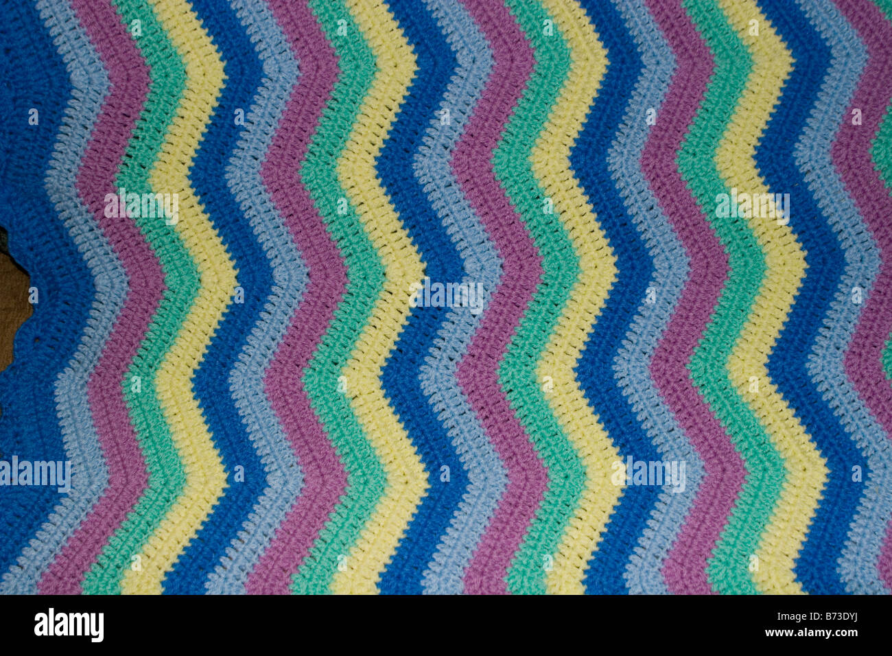 Closeup Häkeln Zick Zack Verschiedene Multi Farbe Farbe Decke Textur