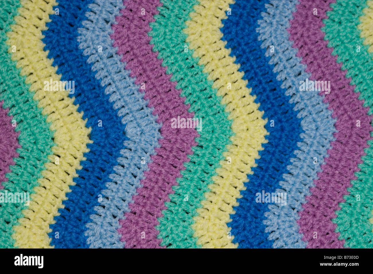 Zick Zack Muster Multi Farbe Decke Closeup Häkeln Stockfoto Bild