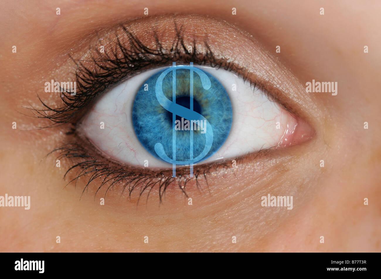 Auge mit einem Dollarsymbol überlagert eine blaue Iris, Detail, symbolisch für Geiz Stockbild