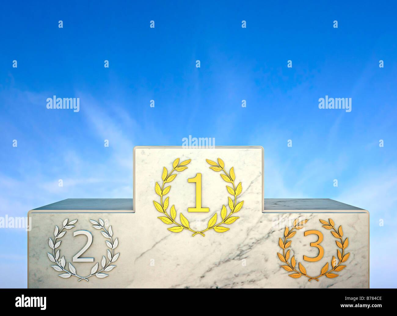 Tribüne, Siegerpodest, Vergleich, Wettbewerb, Wettbewerb, Auszeichnung, Gewinn, Champion, Erfolg Stockbild
