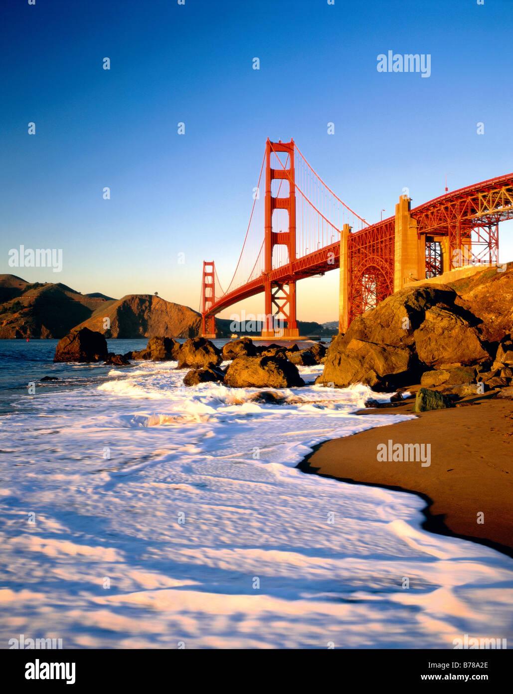 Die Golden Gate Bridge Baker Beach Presidio National Park San Francisco Kalifornien