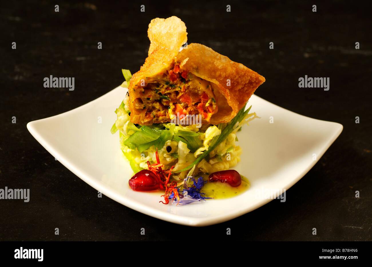 ap ro fisch gewann tonne auf thai salat haute cuisine la baroche elsass frankreich. Black Bedroom Furniture Sets. Home Design Ideas