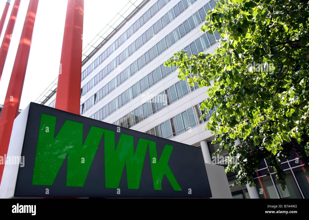 Außenaufnahme des Hauptquartiers der WWK Versicherung in München, Bayern, Deutschland, Europa Stockbild