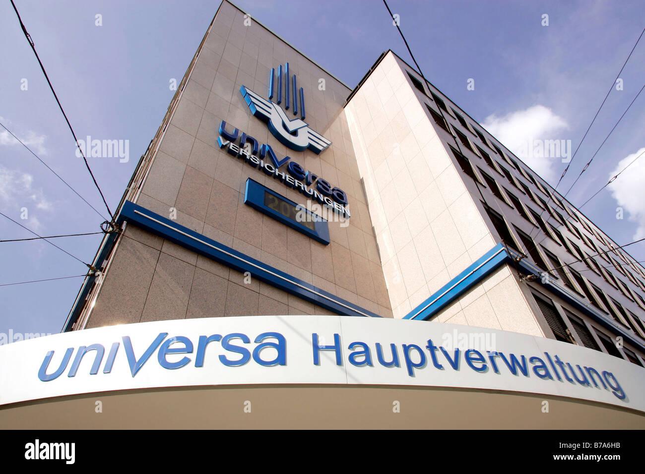 Außenaufnahme des Zentralamtes der UniVersa Versicherungen in Nürnberg, Bayern, Deutschland, Europa Stockbild