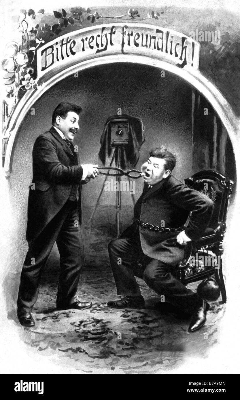 Historisches Foto, Zahnarzt und Patient, ca. 1900 Stockbild
