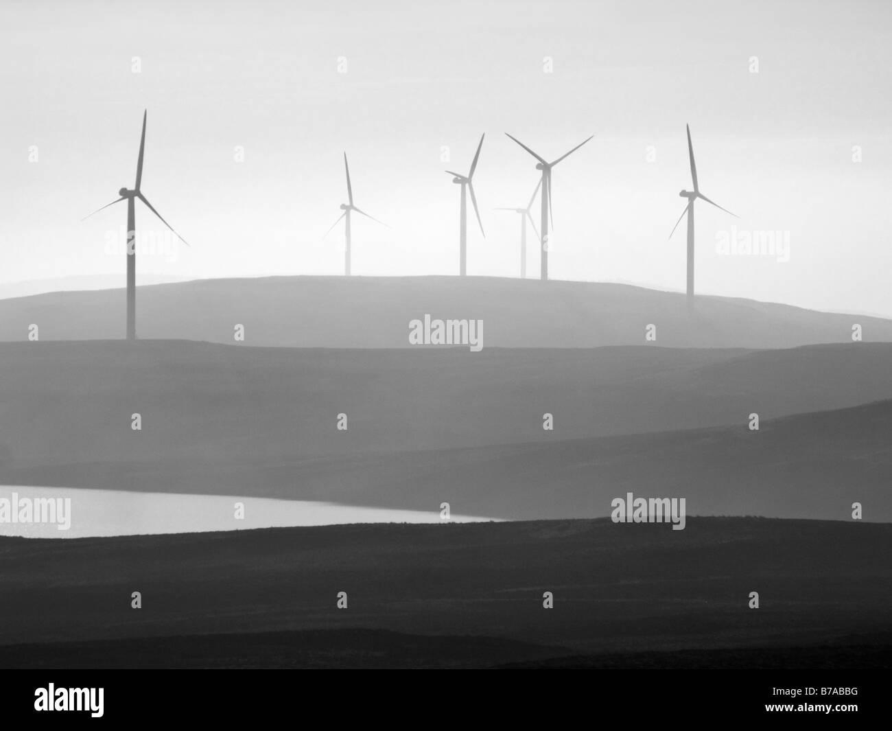 Der Earlsburn Windpark in Campsie Hills, Stirling, Schottland, Großbritannien. Stockbild