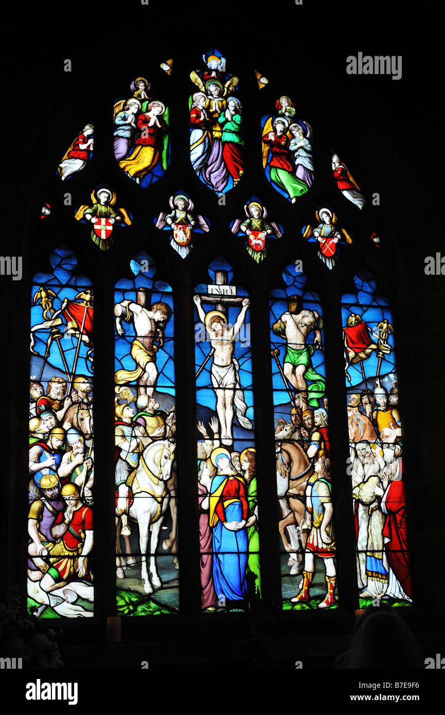 Ein Glasfenster in Ilkley Pfarrei Kirche West Yorkshire Stockbild
