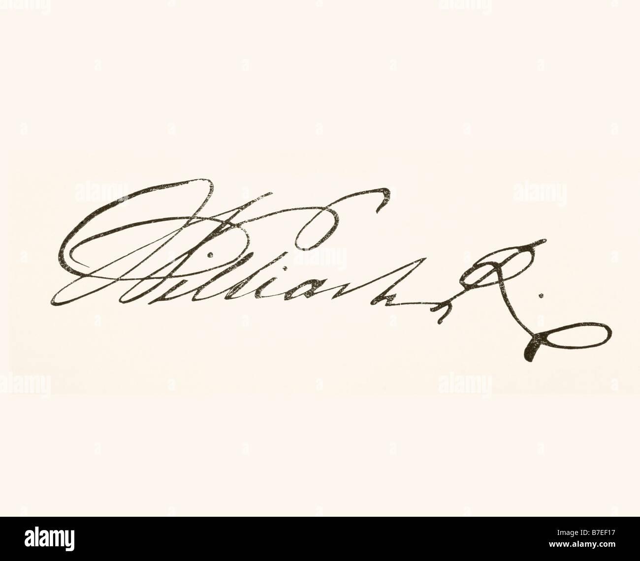 Unterschrift von König William IV 1765 bis 1837 König von Großbritannien und Irland und König Stockbild