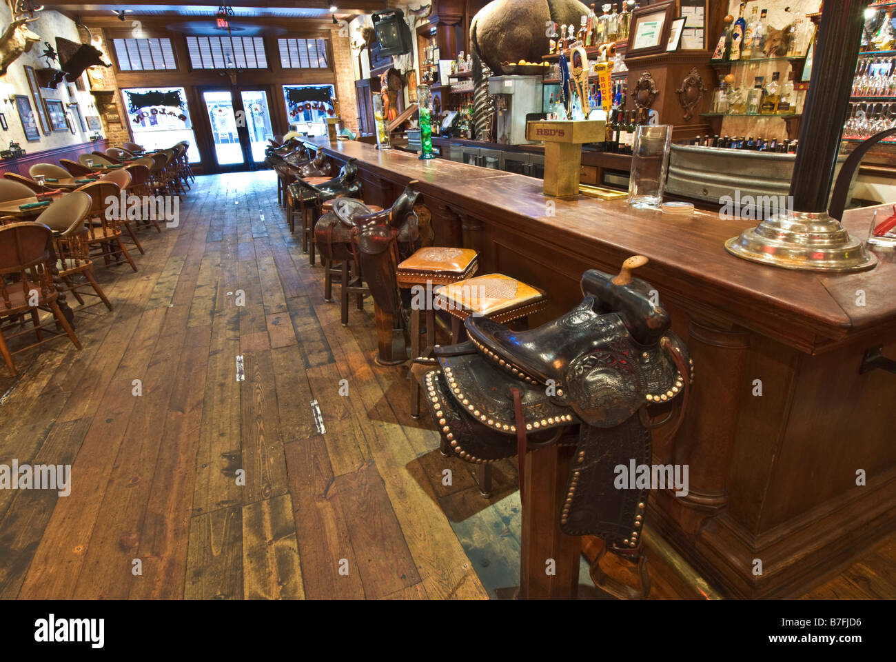 Texas Fort Worth Stockyards National Historic District Booger Red S Saloon Sattel Barhocker Stockfotografie Alamy