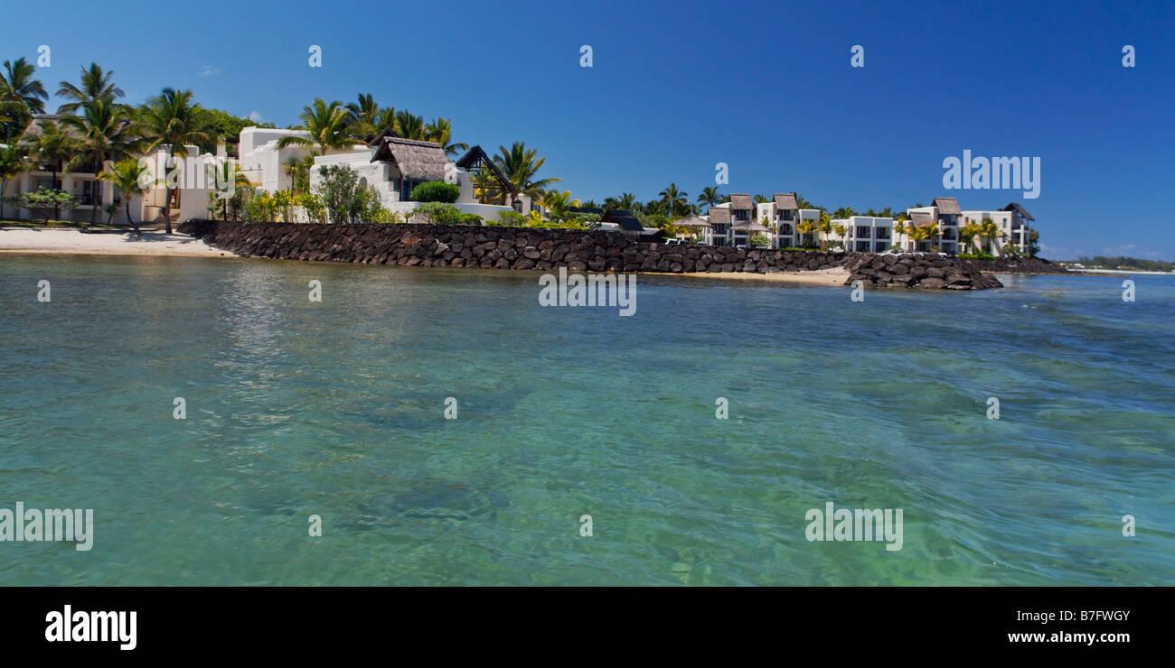 Villen am Wasser der fünf Sterne Hotel Le Touessrok in Trou d Eau Douce Mauritius Afrika Stockbild