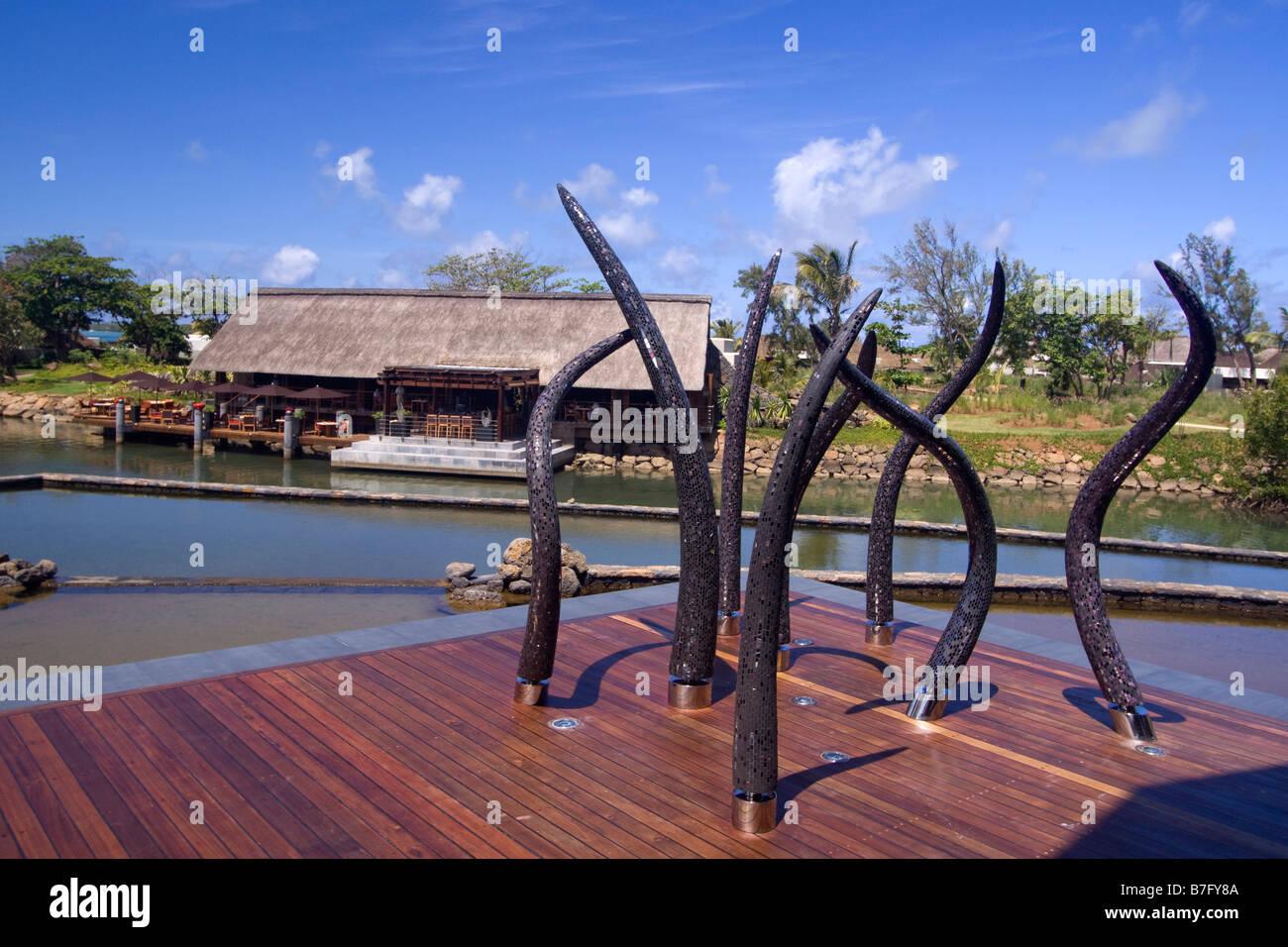 Luxus Hotel Four Seasons in Ananhita Kunst Objekt Lagoon Mauritius Afrika Stockbild