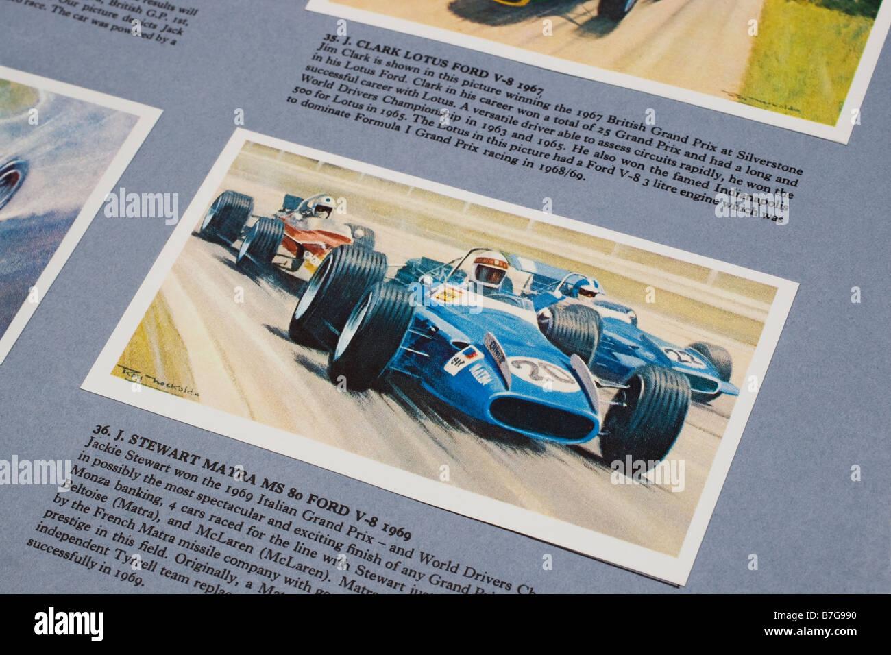 Bildkarte von Jackie Stewarts Matra MS 80 Ford aus der Geschichte des Grand Prix Motor Racing Mobile Erdöl Stockbild