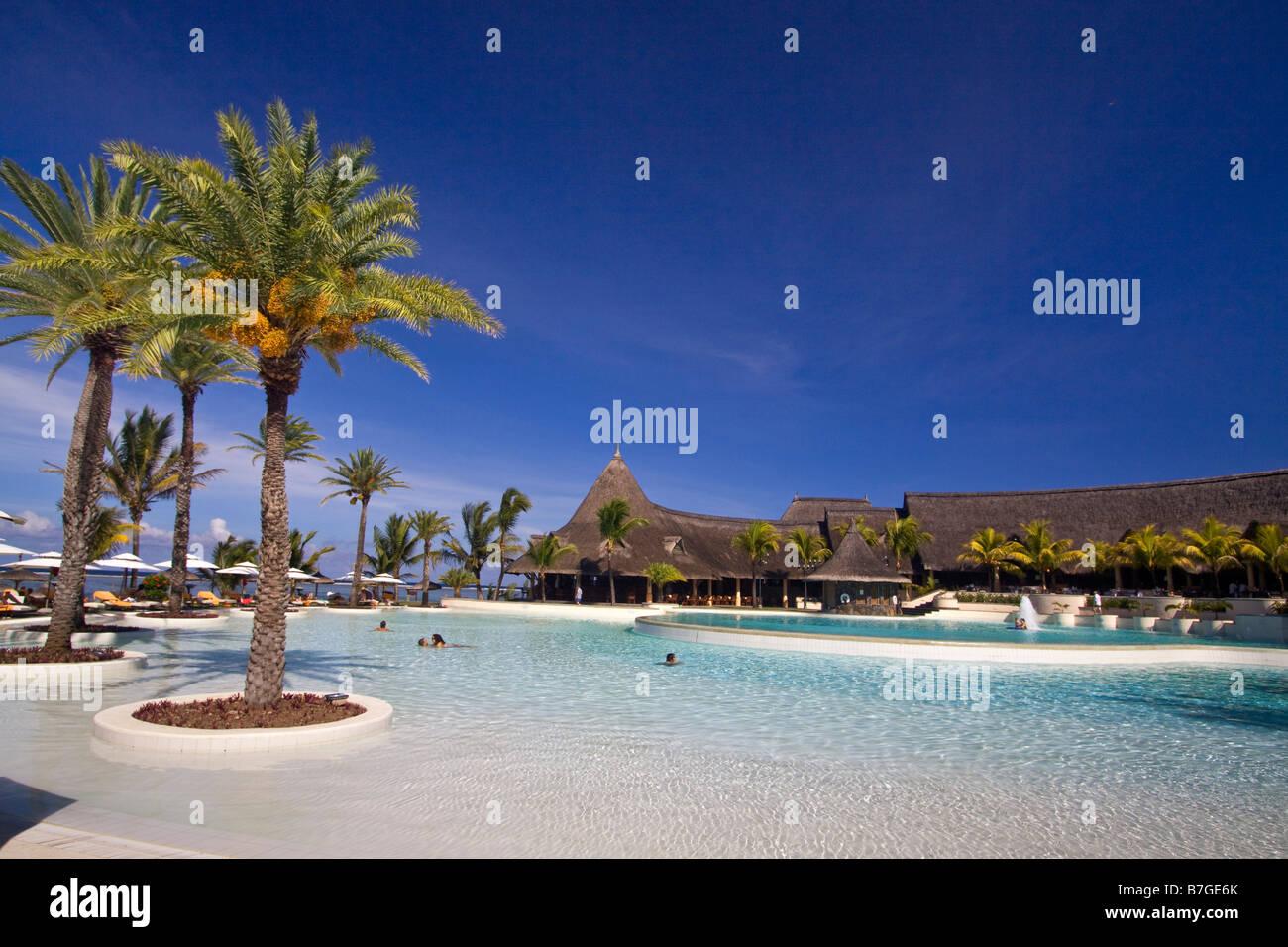 Pool von Hotel The Residence Belle Mare Plage Mauritius Afrika Stockbild